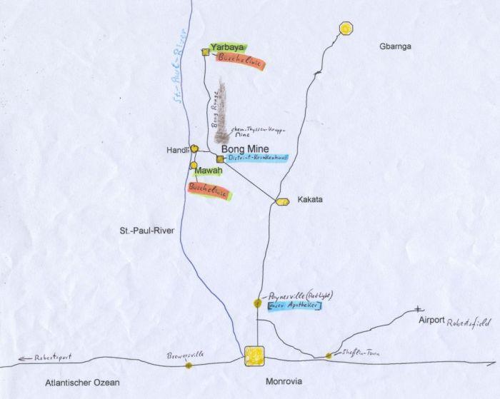 Karten-Zeichnung von der Lage der Busch-Clinicen